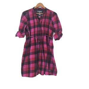 VICTORIAS SECRET Pink Plaid Rhinestone Dress LG